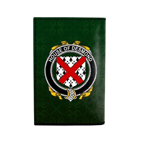 (Laser Personalized Text) Desmond Family Crest Minimalist Wallet K6