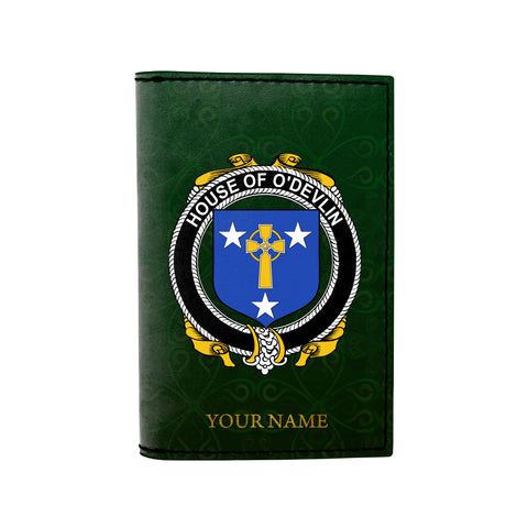 (Laser Personalized Text) Devlin or O'Devlin Family Crest Minimalist Wallet