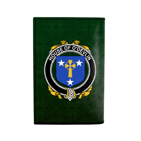 (Laser Personalized Text) Devlin or O'Devlin Family Crest Minimalist Wallet K6