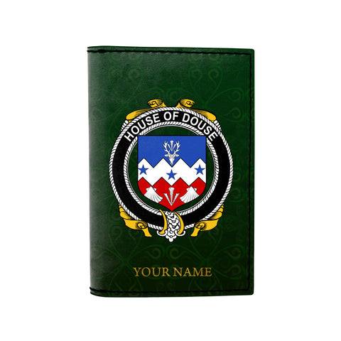 Image of (Laser Personalized Text) Douse or Dowse Family Crest Minimalist Wallet