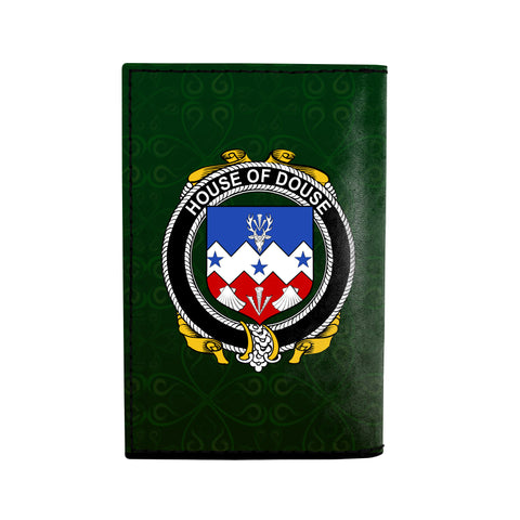 Image of (Laser Personalized Text) Douse or Dowse Family Crest Minimalist Wallet K6
