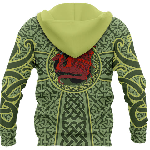 Irish Celtic Hoodie, Celtic Cross Dragon Pullover Hoodie K5