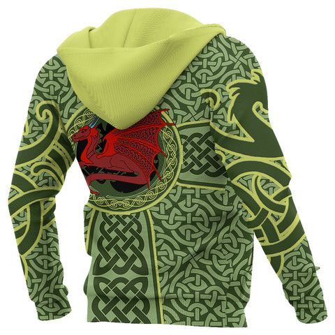 Irish Celtic Zip Hoodie, Celtic Cross Dragon Full Zip Hoodie K5