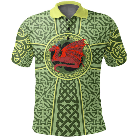 Irish Celtic Polo Shirt, Celtic Cross Dragon Golf Shirts K5