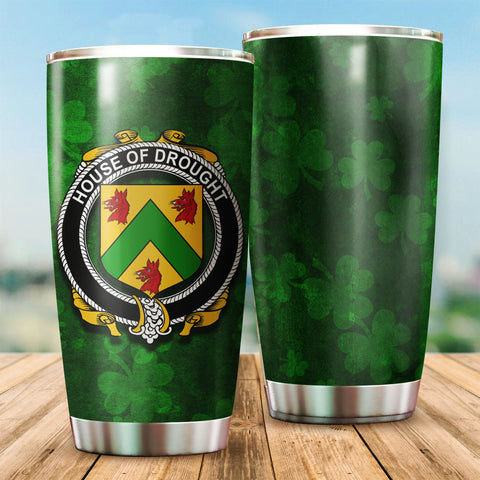 Drought Family Crest Ireland Shamrock Tumbler Cup K6