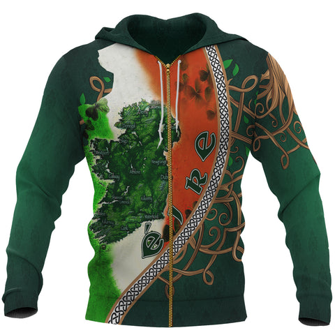 Ireland Zip Hoodie - Éire Map with Celtic Style - Green - Front - For Men and Women