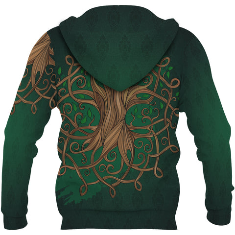 Ireland Zip Hoodie - Éire Map with Celtic Style - Green - Back- For Men and Women