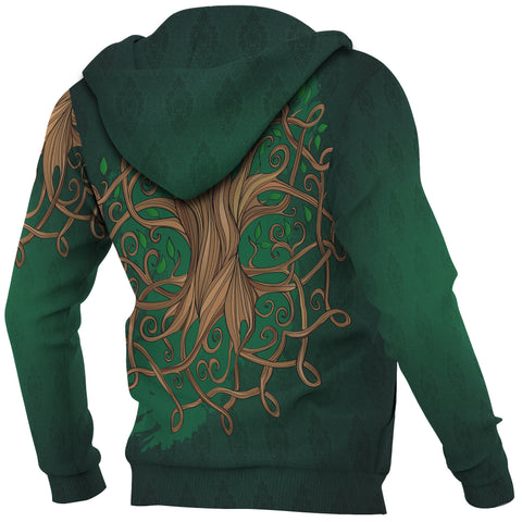 Ireland Zip Hoodie - Éire Map with Celtic Style - Green - Back and Sleeves - For Men and Women