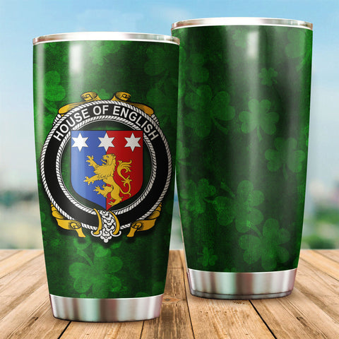 English Family Crest Ireland Shamrock Tumbler Cup K6