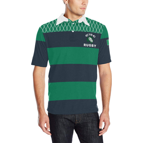 Rugby Polo T Shirts - Croker Green and Navy Traditional - Green - Front - For Men
