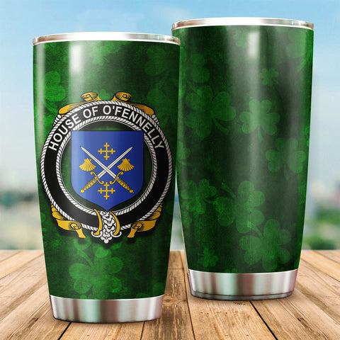 Fennelly or O'Fennelly Family Crest Ireland Shamrock Tumbler Cup K6