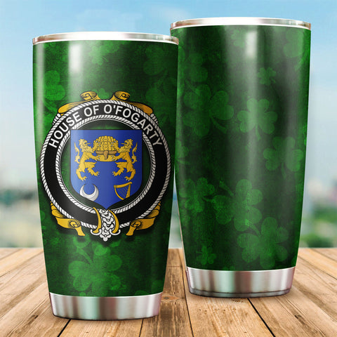 Fogarty or O'Fogarty Family Crest Ireland Shamrock Tumbler Cup K6
