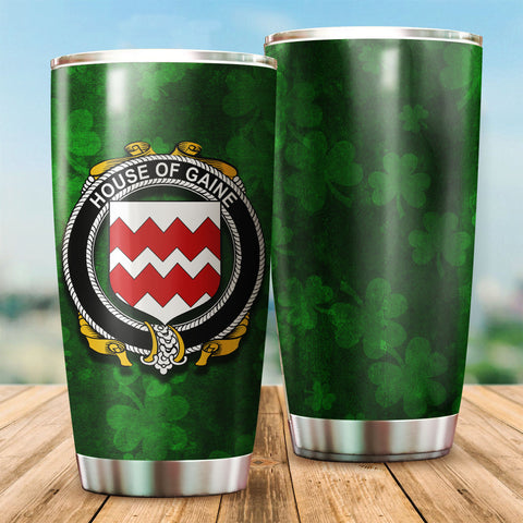 Gaine or Gainey Family Crest Ireland Shamrock Tumbler Cup K6