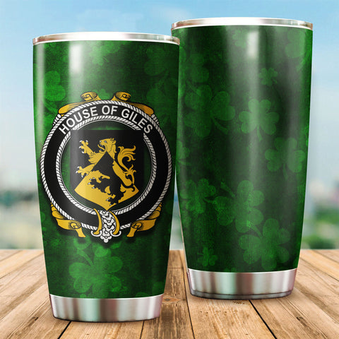 Giles or Gyles Family Crest Ireland Shamrock Tumbler Cup K6