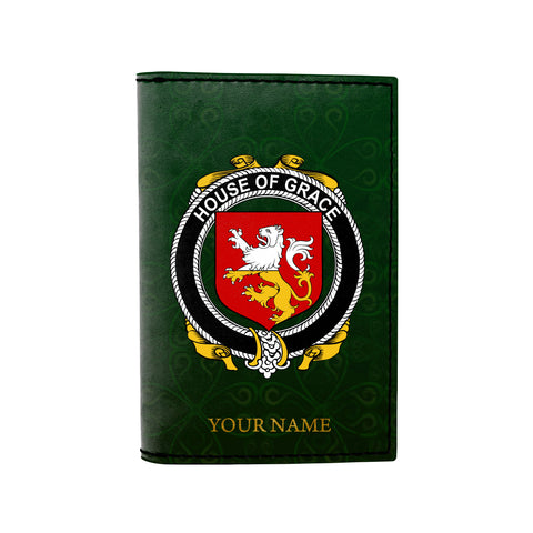(Laser Personalized Text) Grace Family Crest Minimalist Wallet