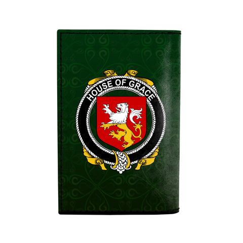 (Laser Personalized Text) Grace Family Crest Minimalist Wallet K6