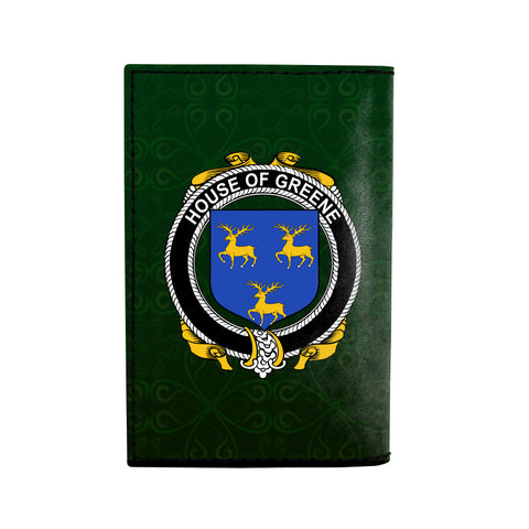 (Laser Personalized Text) Greene Family Crest Minimalist Wallet K6