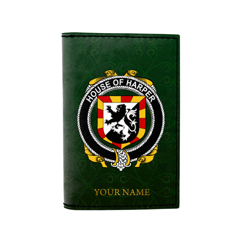 (Laser Personalized Text) Harper Family Crest Minimalist Wallet