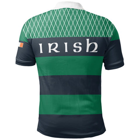 Rugby Polo T Shirts - Croker Green and Navy Traditional - Green - Back - For Men