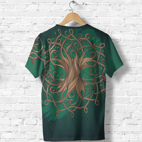 Ireland T-Shirt - Éire Map with Celtic Style - Green - Back - For Men and Women