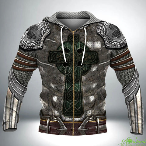 Irish Hoodie, Celtic Knight With Shamrock Emblem Zip Hoodie TH7