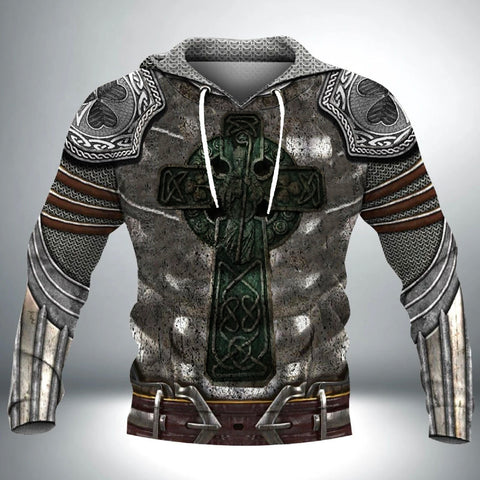 Irish Hoodie, Celtic Knight With Shamrock Emblem Hoodie TH7