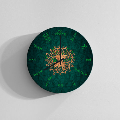Celtic Language Wall Clock - Tree of Life Ireland TH60