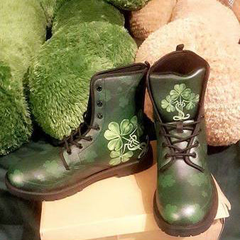 Image of Irish Shamrock Boots, St. Patrick's Day Leather Boots