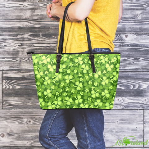 Image of Shamrock Beautiful Garden Leather Tote Bag