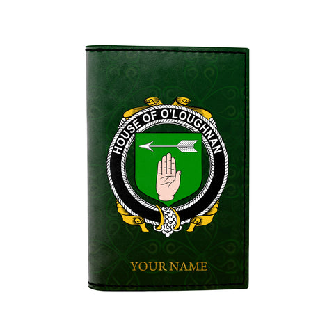 (Laser Personalized Text) Loughnan or O'Loughnan Family Crest Minimalist Wallet