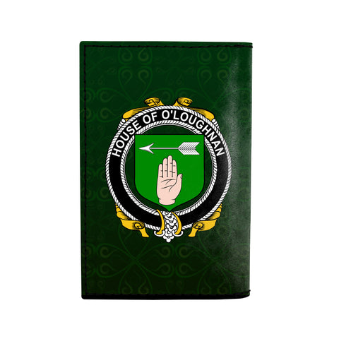 (Laser Personalized Text) Loughnan or O'Loughnan Family Crest Minimalist Wallet K6
