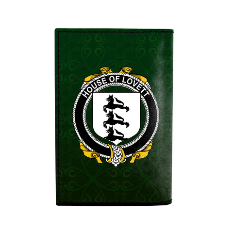 (Laser Personalized Text) Lovett Family Crest Minimalist Wallet K6