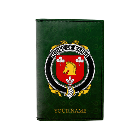 Image of (Laser Personalized Text) Marsh Family Crest Minimalist Wallet