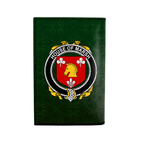 (Laser Personalized Text) Marsh Family Crest Minimalist Wallet K6