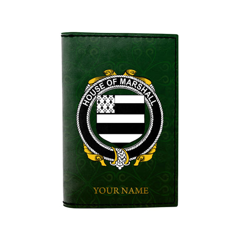 (Laser Personalized Text) Marshall Family Crest Minimalist Wallet
