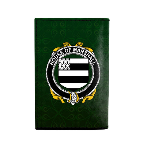 (Laser Personalized Text) Marshall Family Crest Minimalist Wallet K6