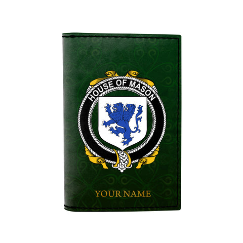 (Laser Personalized Text) Mason Family Crest Minimalist Wallet