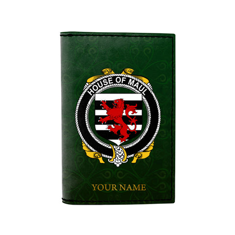 (Laser Personalized Text) Maul or Maule Family Crest Minimalist Wallet