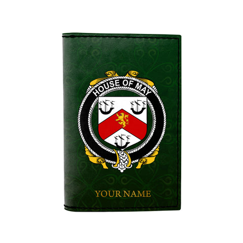 (Laser Personalized Text) May Family Crest Minimalist Wallet