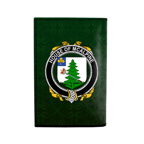 (Laser Personalized Text) McAlpine or MacAlpin Family Crest Minimalist Wallet K6