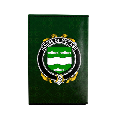 (Laser Personalized Text) McCabe Family Crest Minimalist Wallet K6