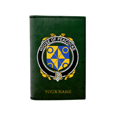 Image of (Laser Personalized Text) Peacocke Family Crest Minimalist Wallet
