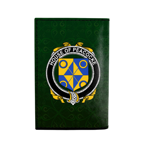 (Laser Personalized Text) Peacocke Family Crest Minimalist Wallet K6