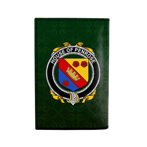 (Laser Personalized Text) Penrose Family Crest Minimalist Wallet K6