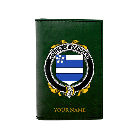 (Laser Personalized Text) Peppard Family Crest Minimalist Wallet