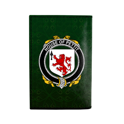 (Laser Personalized Text) Pettit Family Crest Minimalist Wallet K6