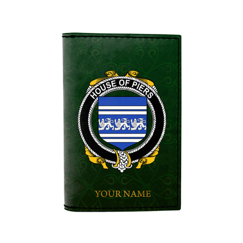 (Laser Personalized Text) Piers Family Crest Minimalist Wallet