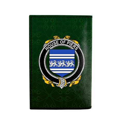 (Laser Personalized Text) Piers Family Crest Minimalist Wallet K6
