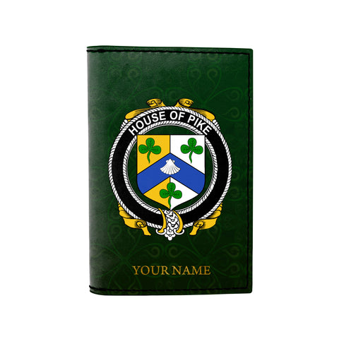 (Laser Personalized Text) Pike Family Crest Minimalist Wallet