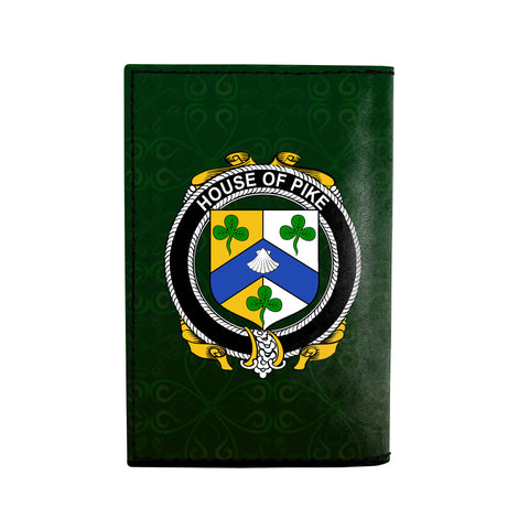 (Laser Personalized Text) Pike Family Crest Minimalist Wallet K6